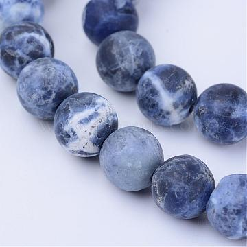 Natural Sodalite Beads Strands, Frosted, Round, 6~6.5mm, Hole: 1mm, about 63pcs/strand, 15.5 inches(G-Q462-6mm-07)