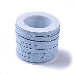 Cordon de suédine, dentelle de faux suède, bleu clair, 5x1 mm; sur 5 m / rouleau(LW-XCP0002-03B)