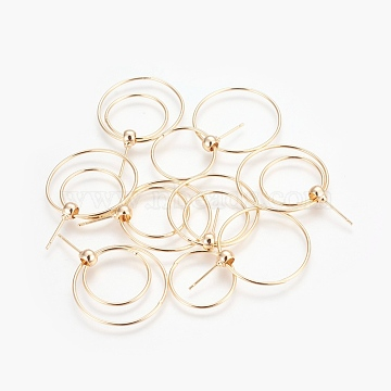 Brass Dangle Stud Earrings, Long-Lasting Plated, Nickel Free, Ring, Real 18K Gold Plated, 27x1mm; Pin: 0.7mm(EJEW-F194-12G-NF)