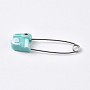 Platinum Turquoise Iron Safety Pins(X-IFIN-WH0051-33B)