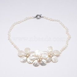 Flower Mother of Pearl Bib Statement Necklaces, with Brass Spring Ring Clasps and Round Pearl Beads, PapayaWhip, 17.7inches(NJEW-N0014-06I)
