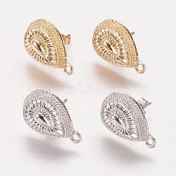 Accessoires de clou d'oreille en alliage, avec boucle, goutte , couleur mixte, 19x12mm, trou: 1 mm; broches: 0.7 mm(PALLOY-F201-04)