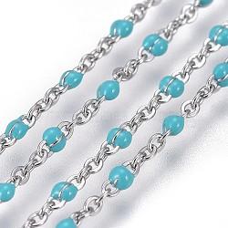 Chaînes de câbles en 304 acier inoxydable, avec l'émail, soudé, couleur inoxydable, bleu ciel, 1~2mm(CHS-G005-A-02P)