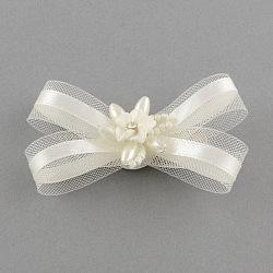 Accessoires de cheveux, décoratifs de mariage, fer pinces à cheveux alligator de verre avec fleurs en pâte polymère et organza arc, ivoire, 84x50mm(PHAR-R123-03)