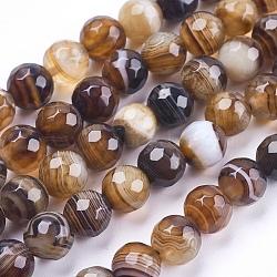 """Chapelets de perles en agate à rayures naturelles/agates à bandes, rond, facette, teint, coconutbrown, 8mm, trou: 1mm; environ 47~48 pcs/chapelet, 14.8~15.1"""" (37.7~38.5 cm)(G-P364-04-8mm)"""