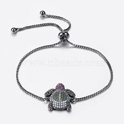 bracelets réglables en laiton à micro-pavé de zircons cubiques, bracelets de slider, tortue, bronze, 10-1 / 4 (260 mm); 1.2 mm(BJEW-H558-09B)