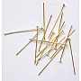 Iron Flat Head Pins, Nickel Free, Golden, 40x0.7mm; about 6400pcs/1000g
