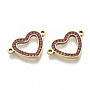 304 Stainless Steel Links connectors, with Rhinestone, Heart, Golden, Rose, 14x21x2mm, Hole: 1.5mm
