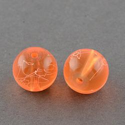 """Drawbench прозрачные стеклянные бусы нити, окрашеные, круглые, оранжево-красные, 10 мм; отверстие: 1.3~1.6 мм, около 80 шт / нитка, 31.4""""(X-GLAD-Q012-10mm-08)"""