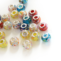 rondelle chalumeau grand trou perles européennes, avec des noyaux de laiton de ton argent, couleur mélangée, 13~14x10~11 mm, trou: 5 mm(X-LPDL-R003-02)