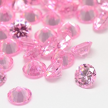 Cubic Zirconia Cabochons, Grade A, Faceted, Diamond, Pearl Pink, 10x5.5mm(ZIRC-M002-10mm-005)
