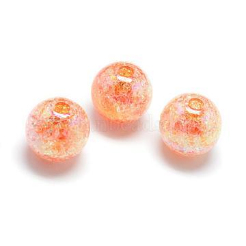 Crackle Style Acrylic Beads, AB Colour, Inside Color, Round, DarkOrange, 18mm, Hole: 4mm; about 150pcs/500g(MACR-S825-18mm-K)