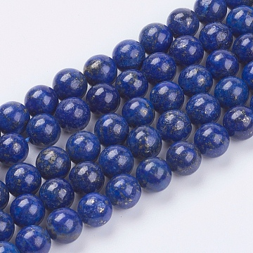 Natural Lapis Lazuli(Filled Color Glue) Beads Strands, Grade AA, Round, 8mm, Hole: 0.8mm; about 49pcs/strand, 15.3inches(X-G-K269-02-8mm)