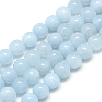 Natural Aquamarine Beads Strands, Round, 6x6mm, Hole: 1mm, about 62pcs/strand, 15.5 inches