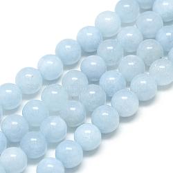 Chapelets de perles en aigue-marine naturelle, rond, 6x6mm, trou: 1mm; environ 62 pcs/chapelet, 15.5''(X-G-S150-08-6mm)