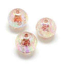 perles acryliques style craquelé, Couleur ab, couleur à l'intérieur , arrondir, chameau, 20 mm, trou: 2.5 mm; environ 110 pcs / 500 g(MACR-S825-20mm-B)