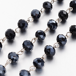 Handmade Rondelle Glass Beads Chains for Necklaces Bracelets Making, with Iron Eye Pin, Unwelded, Black, 39.3 inches, about 88pcs/strand(X-AJEW-JB00120-07)