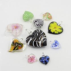 Idée parfaite de cadeau pour valentines sa couleur mixte pendentifs coeur main de Murano, 22~56x21~43x9.5~12mm, Trou: 3~6mm(LAMP-MSMC003-18)