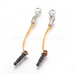 Пластиковый пылезащитный мобильного пробки, с железными выводами и нейлоновым шнуром, платина, оранжевые, 72~74 мм(MOBA-F004-A04)