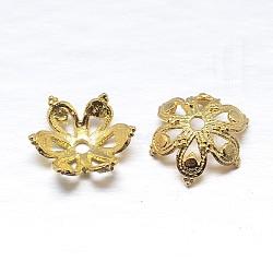 véritables 18 k plaqués or 6 - chapeaux de perles en argent sterling à pétales, fleur, or, 10x4 mm, trou: 1 mm; environ 48 pcs / 20 g(STER-M100-03)