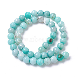 Natural Dyed Agate Imitation Turquoise Beads Strands, Round, PaleTurquoise, 12mm, Hole: 1mm, about 30~32pcs/strand, 14.88inches~15.15''(37.8~38.5cm)