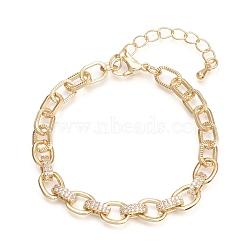 bracelets chaînes en laiton, avec zircone cubique transparente et fermoirs à pince de homard, texturé, plaqué longue durée, or, 6-1 / 2 (16.5 cm)(BJEW-I286-01G)