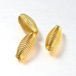 Rice Iron Spring Beads, Coil Beads, Golden, 12x6mm, Hole: 2mm(IFIN-N3295-02)