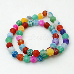 Natural Crackle Agate Beads Strands, Dyed, Round, Grade A, Mixed Color, 4mm, Hole: 0.8mm; about 93pcs/strand, 15inches