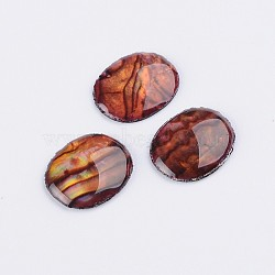 ormeaux ovale / paua cabochons shell, DarkRed, 10x8x2 mm(X-SSHEL-K002-10x8mm-02)