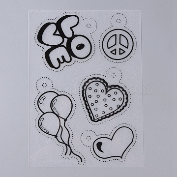 Plastic Heat Shrink Film Paper, with Different Patterns for Kids Adults Creative DIY Craft, Heart & Balloon & Peace Sign & Word LOVE Pattern, Black, 200~210x140~153x0.3mm(DIY-TAC0007-13B)