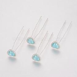 (vente de clôture défectueuse), fourches de cheveux de dame, avec des résultats de fer de couleur argent, strass et acrylique, cœur, cristal, paleturquoise, 71 mm(PHAR-XCP0001-L03)