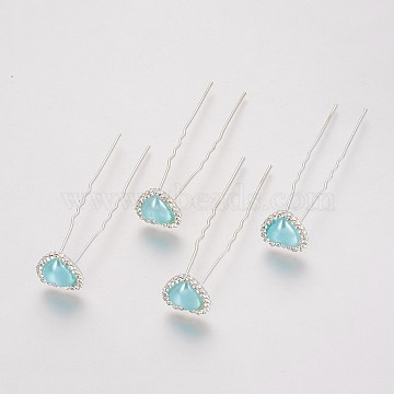 Silver PaleTurquoise Acrylic Hair Forks