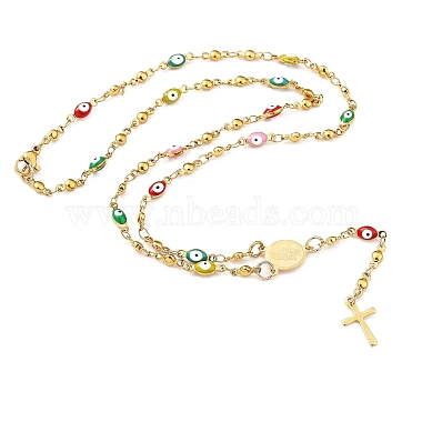 Unisex 304 Stainless Steel Rosary Bead Necklaces(NJEW-L457-002G)-3