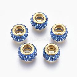 Perles européennes artisanales en pâte de polymère, Perles avec un grand trou   , avec ame en laiton, plat rond, or, dodgerblue, 11.5x7mm, Trou: 5mm(CLAY-O002-01G-A)
