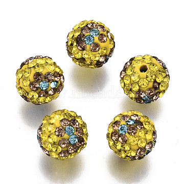 Polymer Clay Rhinestone Beads, Pave Disco Ball Beads, Round, Aquamarine, PP13(1.9~2mm), 6 Rows Rhinestone; 10mm, Hole: 1.5mm(RB-N051-012C)