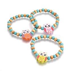 """Perles en bois enfants bracelets extensibles, avec turquoise synthétique, chouette, couleur mixte, 1-5/8"""" (4.2 cm)(BJEW-JB04129-02)"""