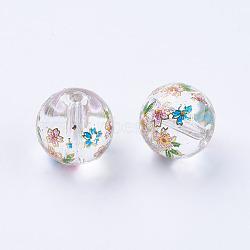 fleur photo perles de verre imprimé, arrondir, effacer, 10x9 mm, trou: 1.5 mm(GLAA-E399-10mm-C01)