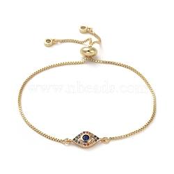 bracelets réglables en laiton, bracelets bolo, avec maillons en laiton micro pavé de zircone cubique et boîte à bijoux, oeil de cheval, or, 9 (23 cm)(BJEW-JB05036-02)