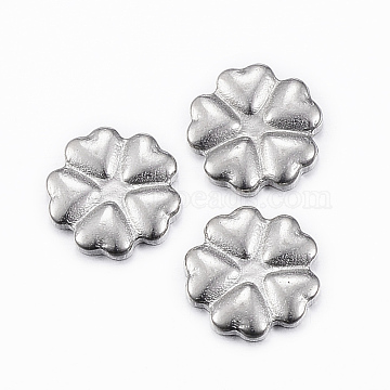 304 Stainless Steel Cabochons, Flower, Stainless Steel Color, 8.5x9x1.5mm(STAS-G179-17P)