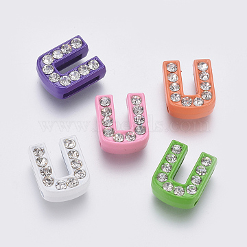 Alloy Letter Slide Beads, Rhinestone Letter Charms, Letter U for DIY Jewelry Bracelet, Mixed Color, about 9.5mm wide, 12mm long, 4.5mm thick, hole: 7x1mm(X-ZP14-U)