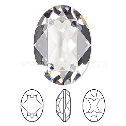 Austrian Crystal Rhinestone Cabochons, Crystal Passions, Faceted Oval Fancy Stone, 4120, 001_Crystal, 6x8mm(X-4120-8x6-001(U))