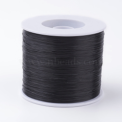 Korean Flat Elastic Crystal String, Elastic Beading Thread, for Stretch Bracelet Making, Black, 0.5mm; about 500m/roll(EW-G005-0.5mm-19)