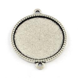 Supports de connecteur de cabochon rond et plat en alliage de style tibétain, sans cadmium et sans plomb, argent antique, plateau: 20 mm; 29x23x2 mm, Trou: 2mm(X-TIBE-Q038-001F-AS-RS)