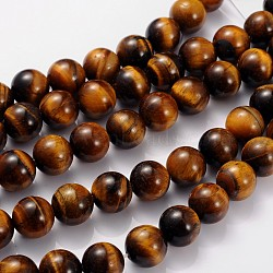 Gemstone Strands, Tiger Eye, about 12mm in diameter, hole: 1mm, 33pcs/strand, 15.5inches