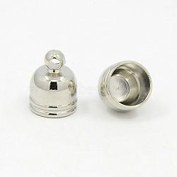 extrémités du cordon en laiton plaqué platine, 10x8 mm, trou: 1 mm(X-KK-D217-10x8-P)