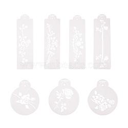 pochoirs en plastique de pulvérisation de fleurs, moule de gâteau d'anniversaire décorant, gateau de surface gateau spray gateaux, blanc, 11.5~29.5x8.9~9.5 cm(PH-DIY-G005-37)