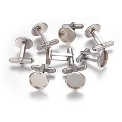 304 réglages de manchette en acier inoxydable, bouton de manchette pour trouver des paramètres de cabochon pour accessoires de vêtements, plat rond, couleur inox, Plateau: 12 mm, 19x14 mm(X-STAS-P227-42P)