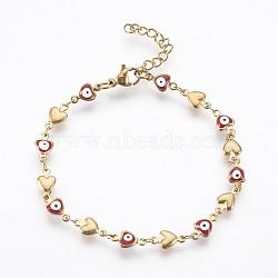 """Bracelets avec chaîne de lien en 304 acier inoxydable, avec l'émail et le homard fermoirs pince, coeur avec le mauvais œil, rouge, 7-1/4"""" (18.5 cm)(BJEW-P236-30G-01)"""