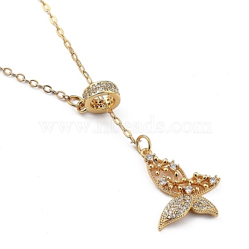 Brass Micro Pave Clear Cubic Zirconia Lariat Necklaces, with Spring Ring Clasps, Butterfly, Golden, 18.31 inches(16.5cm)(NJEW-JN03010-01)