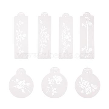 Plastic Flower Spray Stencils, Birthday Cake Mold Decorating, Surface Cake Stencil Spray Cookie Stencils Decoration, White, 11.5~29.5x8.9~9.5cm(PH-DIY-G005-37)